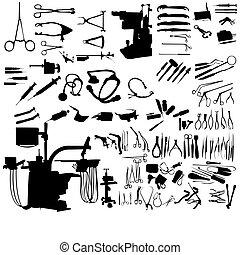instrumentos, médico, conjunto
