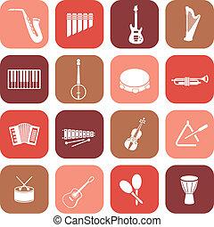 instrumentos música, ícones