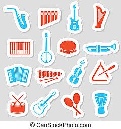 instrumentos música, adesivos