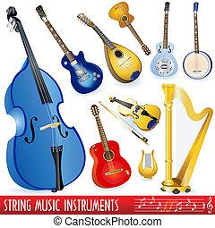 instrumentos, música, cadeia
