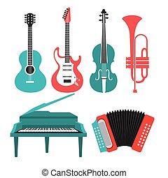 instrumentos, música, design.