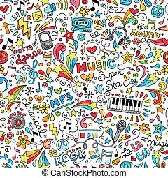 instrumentos, música, garabato, patrón
