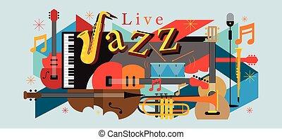 instrumentos, música jazz, fundo