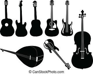 instrumentos música, -, vetorial