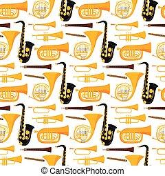 instrumentos, músico, orquesta, seamless, ilustración,...
