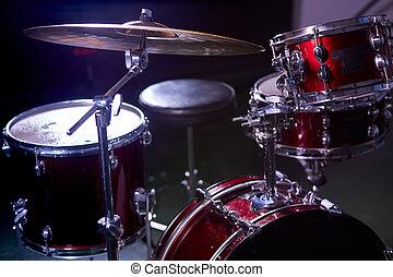 instrumentos, moderno, estudio, oscuridad, conjunto de ...