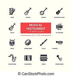 instrumentos musicais, -, apartamento, desenho, estilo, ícones, jogo