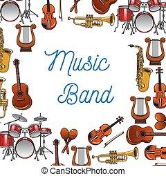 instrumentos musicais, cartaz, para, música, desenho