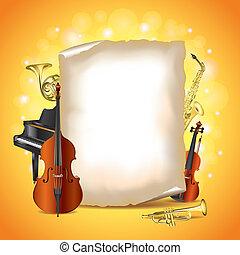 instrumentos musicais, com, em branco, papel, vetorial