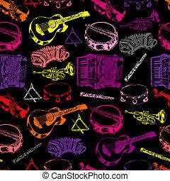 instrumentos musicais, seamless, cor, padrão