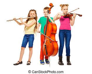 instrumentos, musical, crianças, junto, tocando