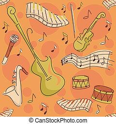 instrumentos, musical, fundo