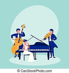instrumentos, musical, grupo, tocando, pessoas