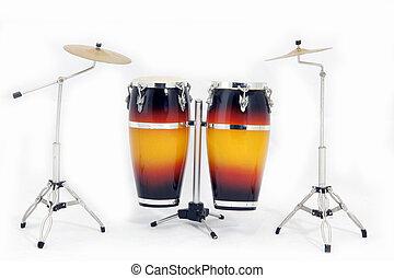 instrumentos, musical, percussão