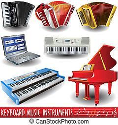 instrumentos, musical, teclado