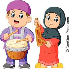 instrumentos, musulmán, musical, tradicional, niño, juego, caricatura, feliz