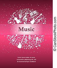 instrumentos, notas, música, fundo, texto, lugar, seu