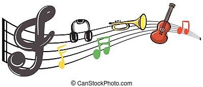 instrumentos, notas, música, musical, fundo
