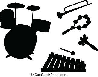 instrumentos, para, crianças