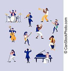 instrumentos, pessoas, grupo, musical, tocando