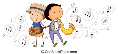 instrumentos, pessoas, musical, tocando