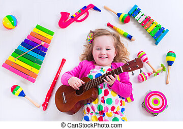 instrumentos, poco, Música, niña