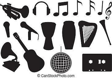 instrumentos, silhuetas, musical