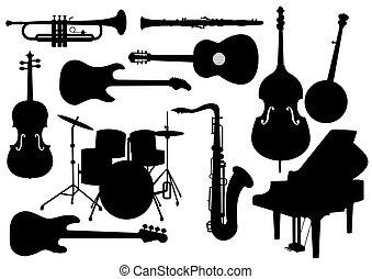 instrumentos, siluetas, vector, musical