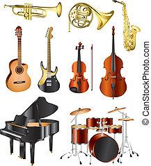 instrumentos, vector, conjunto, musical