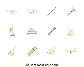 instrumentos vento, apartamento, cor, vetorial, ícones
