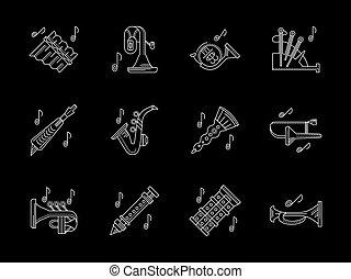instrumentos vento, loja, linha branca, vetorial, ícones
