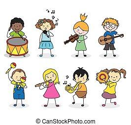 instrumentować, dzieci, muzyczny