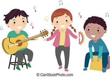 instrumentować, gra, dzieciaki, stickman, akustyczny