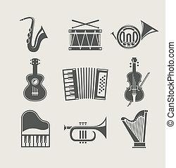 instrumentować, komplet, muzyczny, ikony
