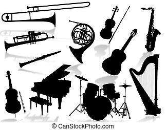 instrumentować, muzyczny, silho