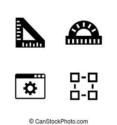instruments., ícones, simples, relatado, engenharia, vetorial