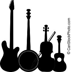 Instruments Black - A group of silhouetted stringed...