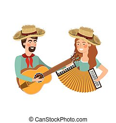 instruments, couple, musical, agriculteurs