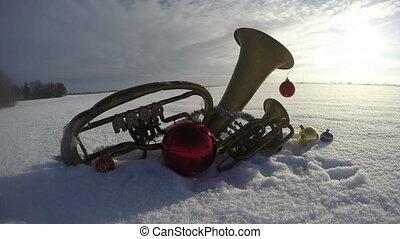 instruments, défaillance, temps, neige, musical, décorations, laiton, noël