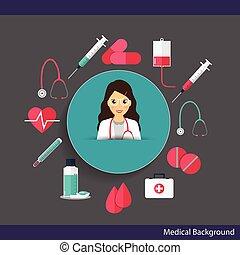 instruments., docteur, illustration médicale, arrière-plan., vecteur, médecine