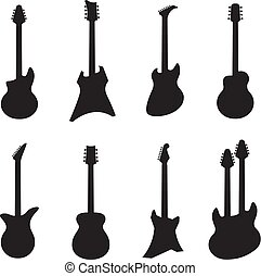 instruments., elettrico, acustico, silhouettes., jazz, isolato, chitarra, vettore, musica, chitarre, roccia, nero, bianco, cordicella