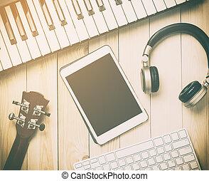 instruments., equipments, olá tecnologia, produção música