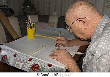 instruments, homme, dessin, rédaction