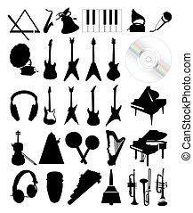 instruments., illustratie, silhouettes, vector, verzameling, muzikalisch