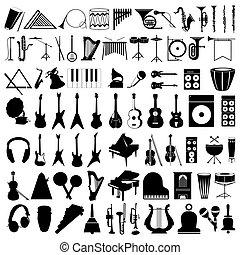 instruments., ilustracja, sylwetka, wektor, zbiór, muzyczny
