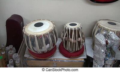 instruments, indien, musical, tambours