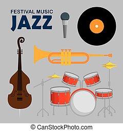 instruments, jazz, ensemble, musique, jour
