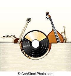 instruments, jazz, enveloppe, disque vinyle