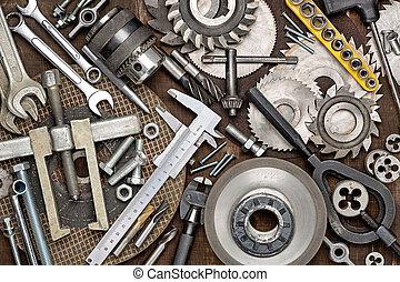 instruments., kit., repair., stuff., journalier, outillage, réparer, travail, maison