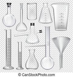 instruments., laboratoire, chimique, équipement, verrerie laboratoire